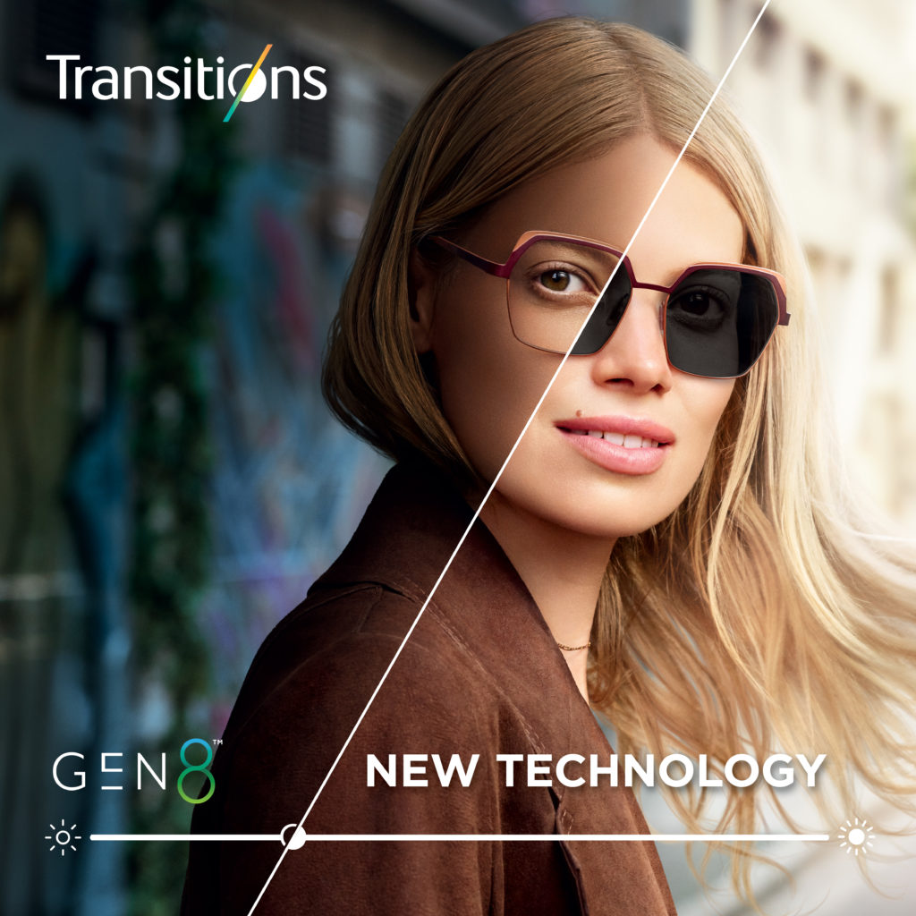 Transitions Gen 8 Advertisement of woman in glasses